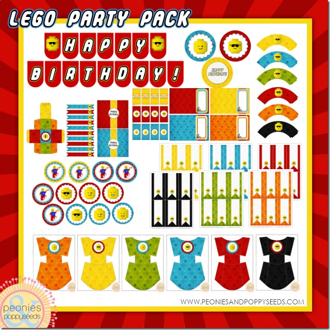 4 Images of LEGO Party Printables Free