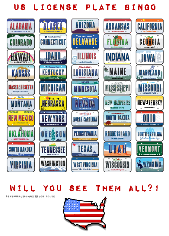5 Images of Us License Plate Bingo Printable