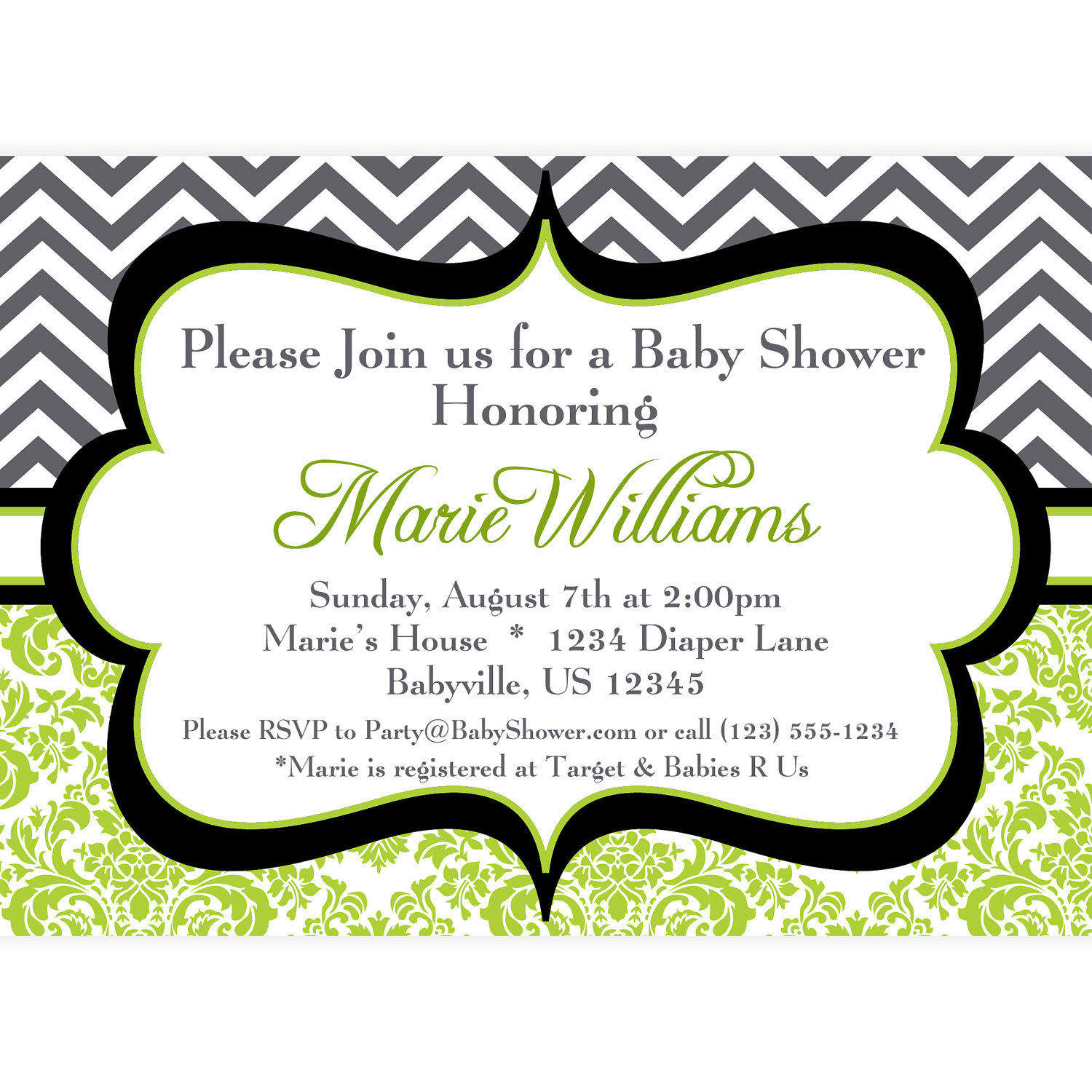 8 Images of Black And White Chevron Printable Invitation