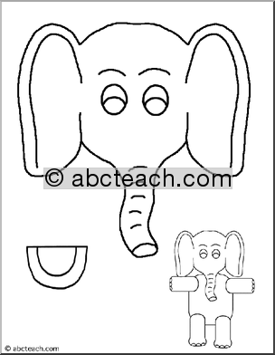 5 Images of Elephant Paper Bag Puppets Printables