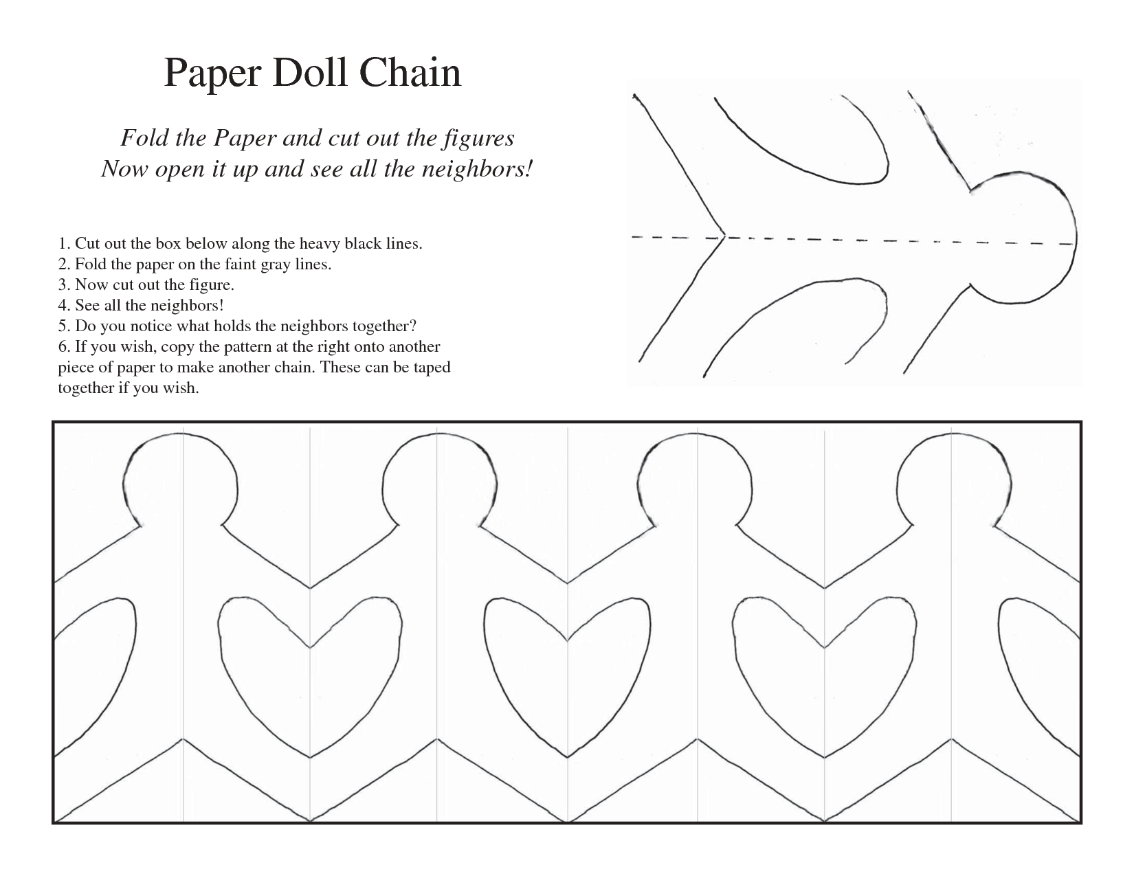 6 Images of Paper Doll Chain Printable Pattern