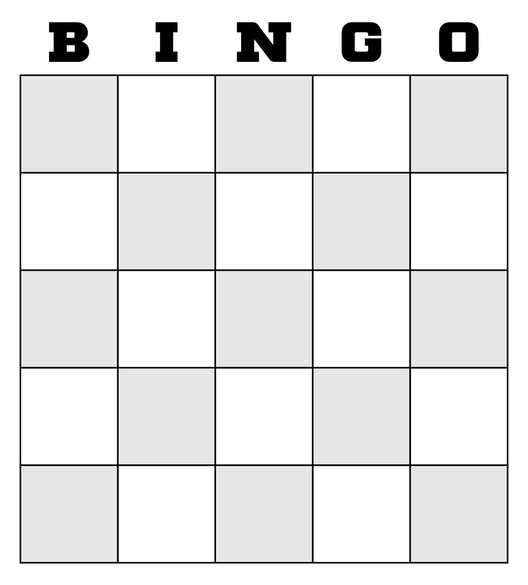 Printable Blank Bingo Cards Template