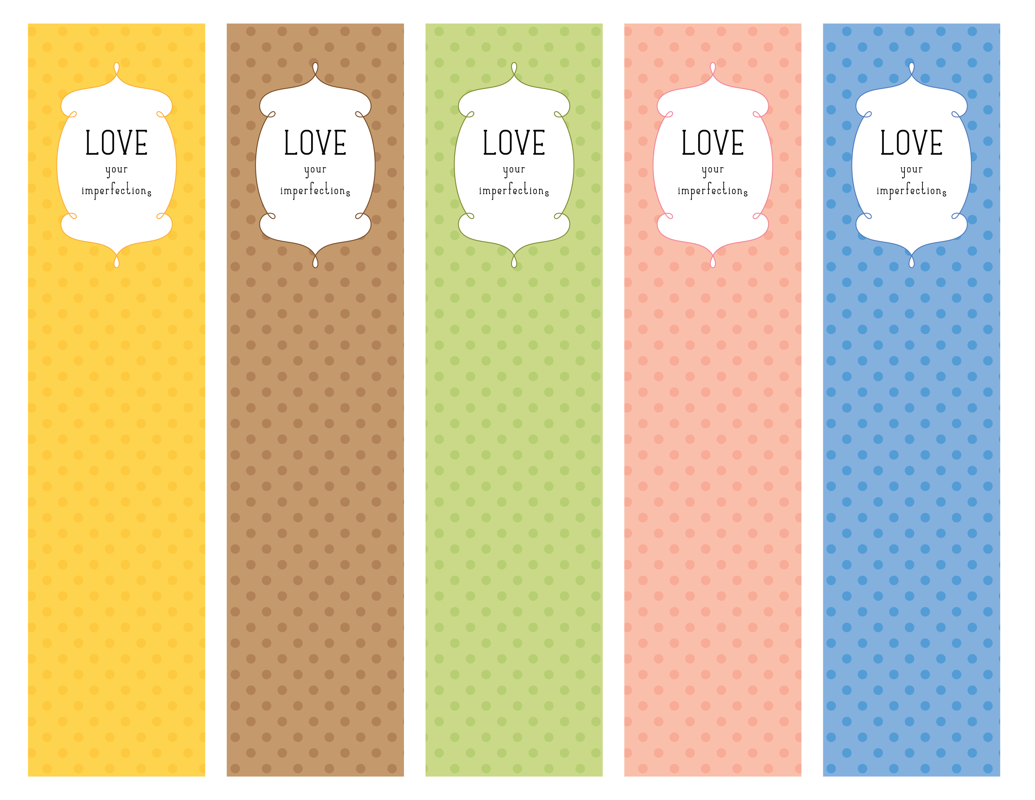 6 Images of Love Printable Bookmarks