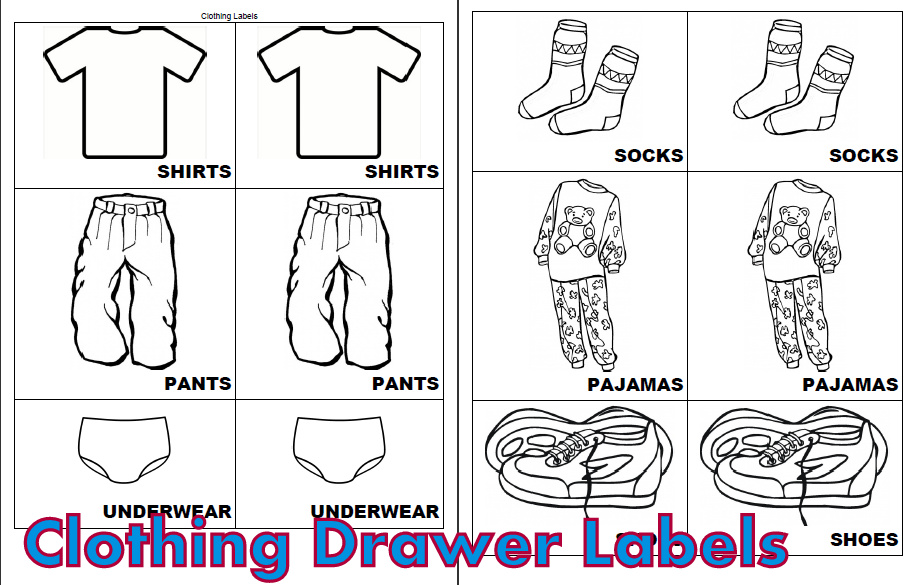 Printable Clothing Drawer Labels