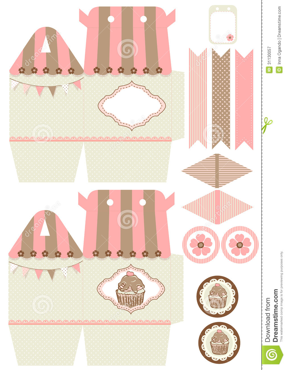 printable cupcake box template
