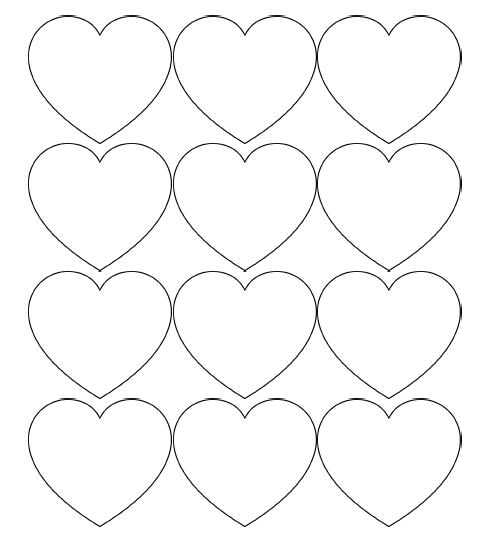 5 Images of Printable Full Page Small Hearts