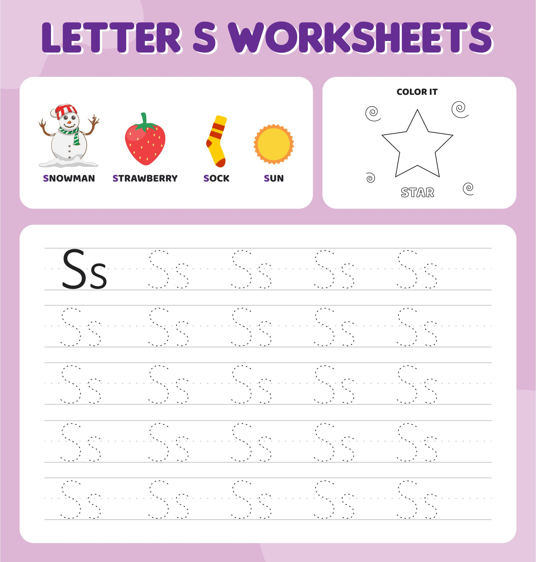 Printable Letter S Worksheets