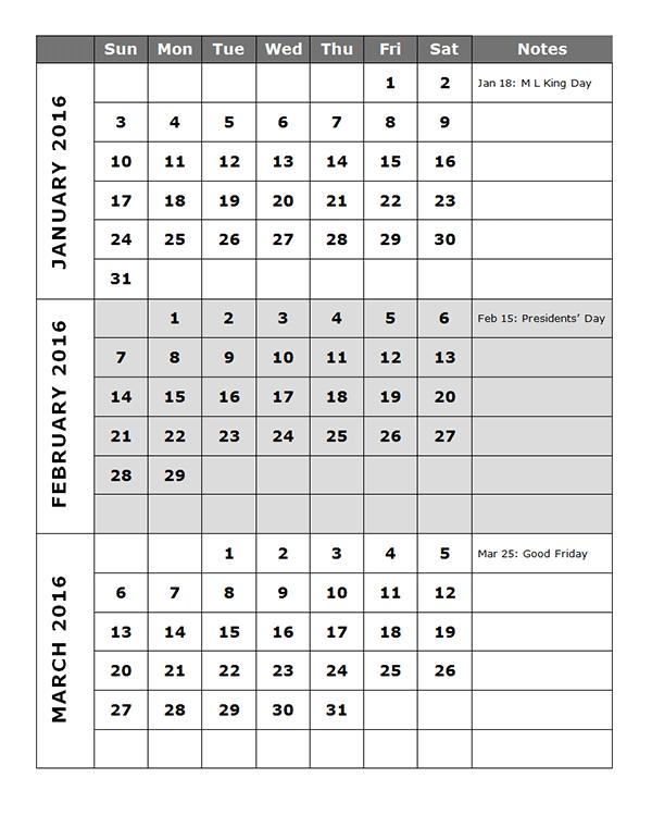 7 Images of 2016 Calendar Printable Quarterly