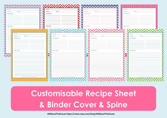 6 best images of free printable recipe sheet templates for Free editable recipe card templates for microsoft word