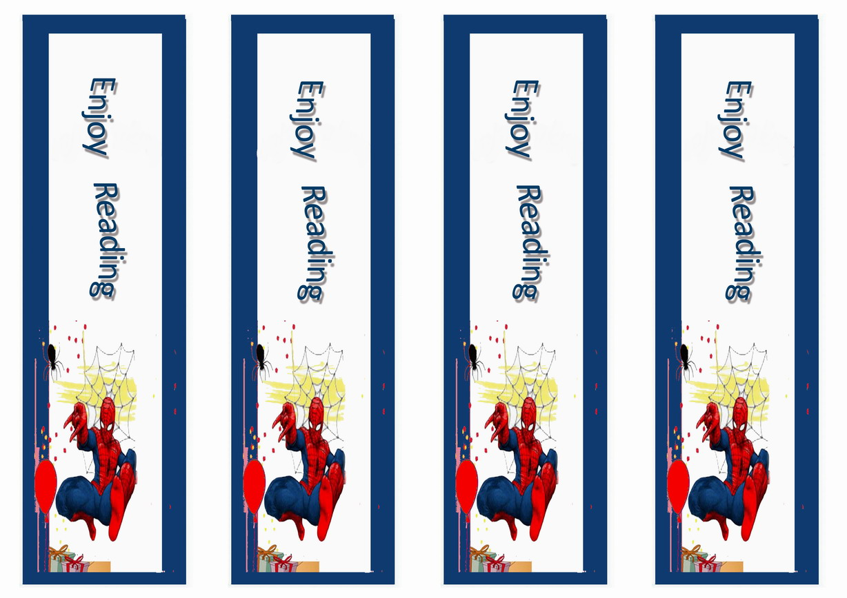 4 Images of Spider-Man Printable Bookmark
