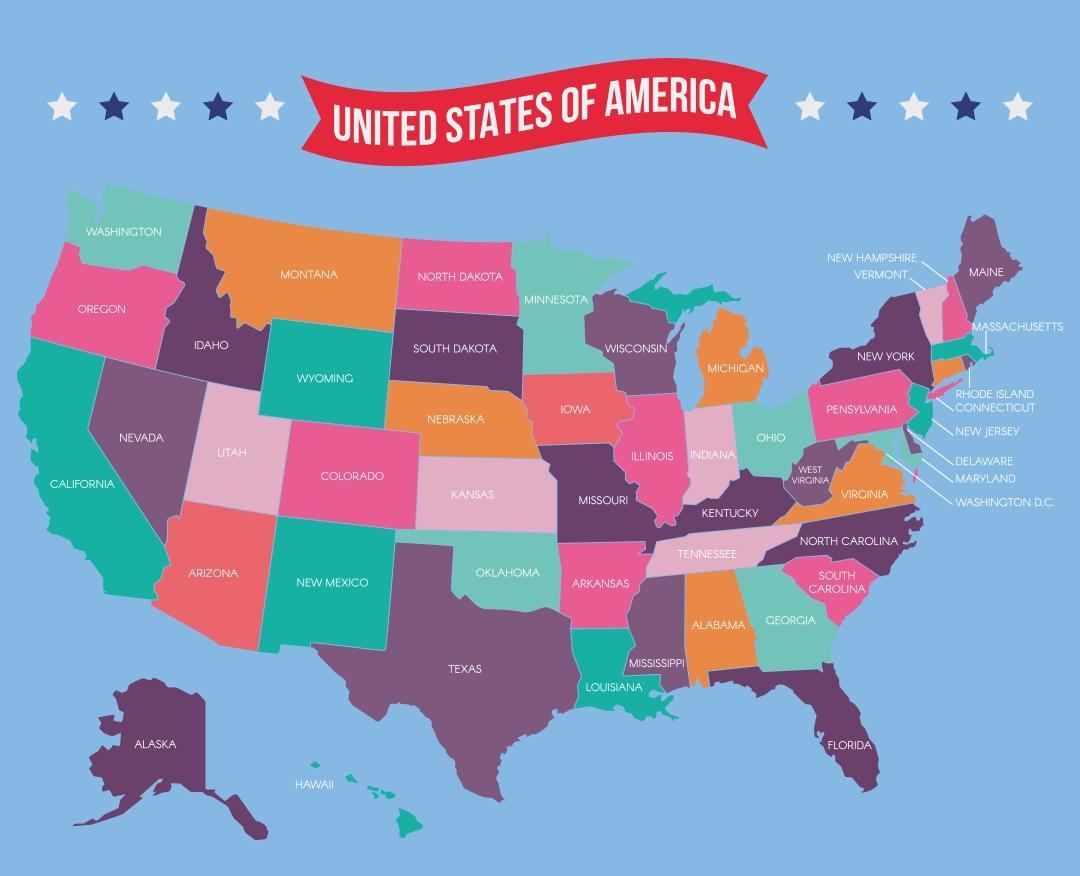 Printable USA Map with States