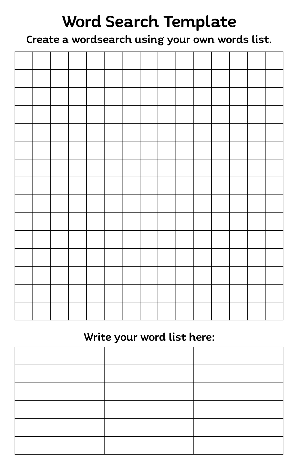 4 best images of blank word search puzzles printable for Create your own word search template