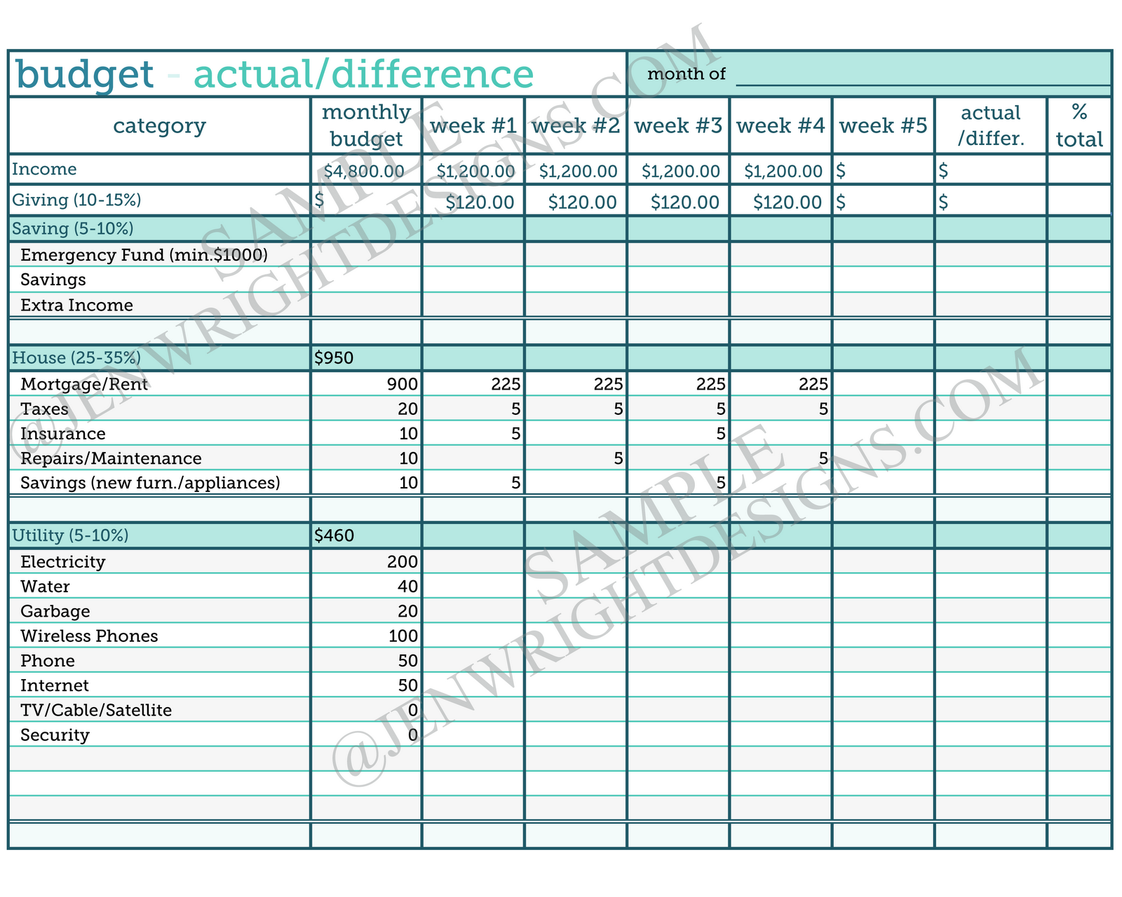 Budget Worksheet Printable, Debt Budget Worksheet Printable & Free ...