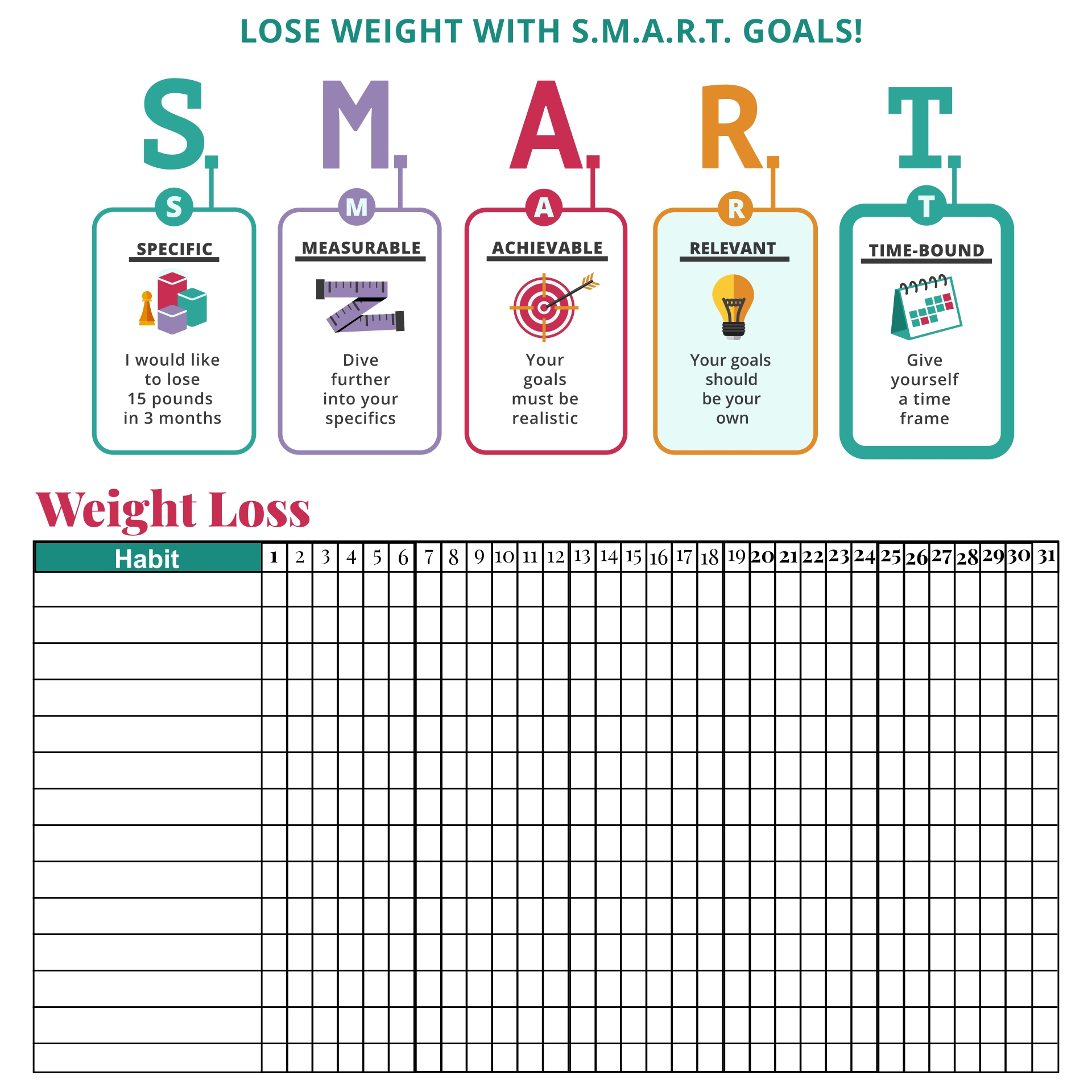 Smart Weight Loss Planner Printable