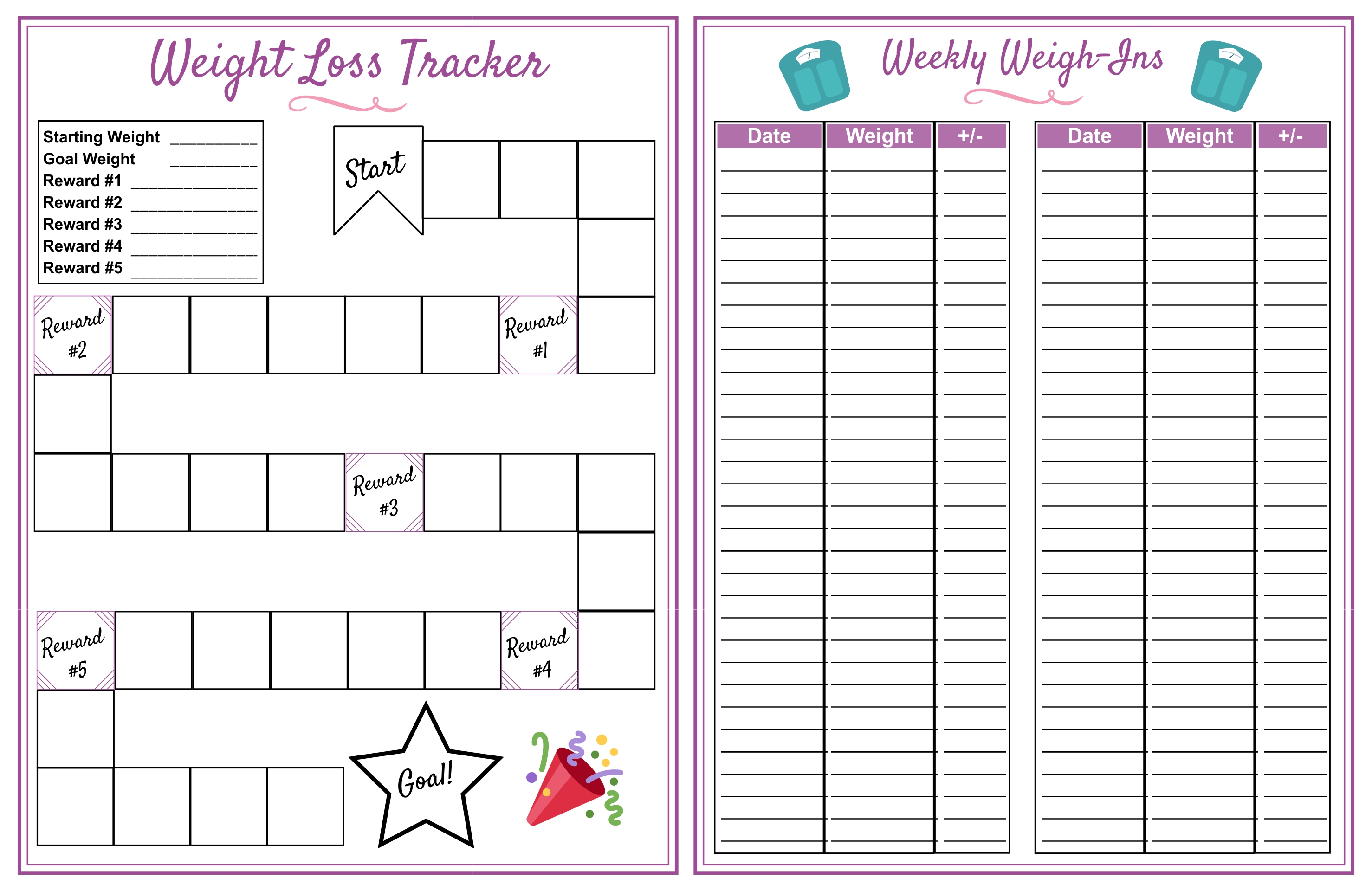weight loss goals template - 8 best images of weight loss planner printable free