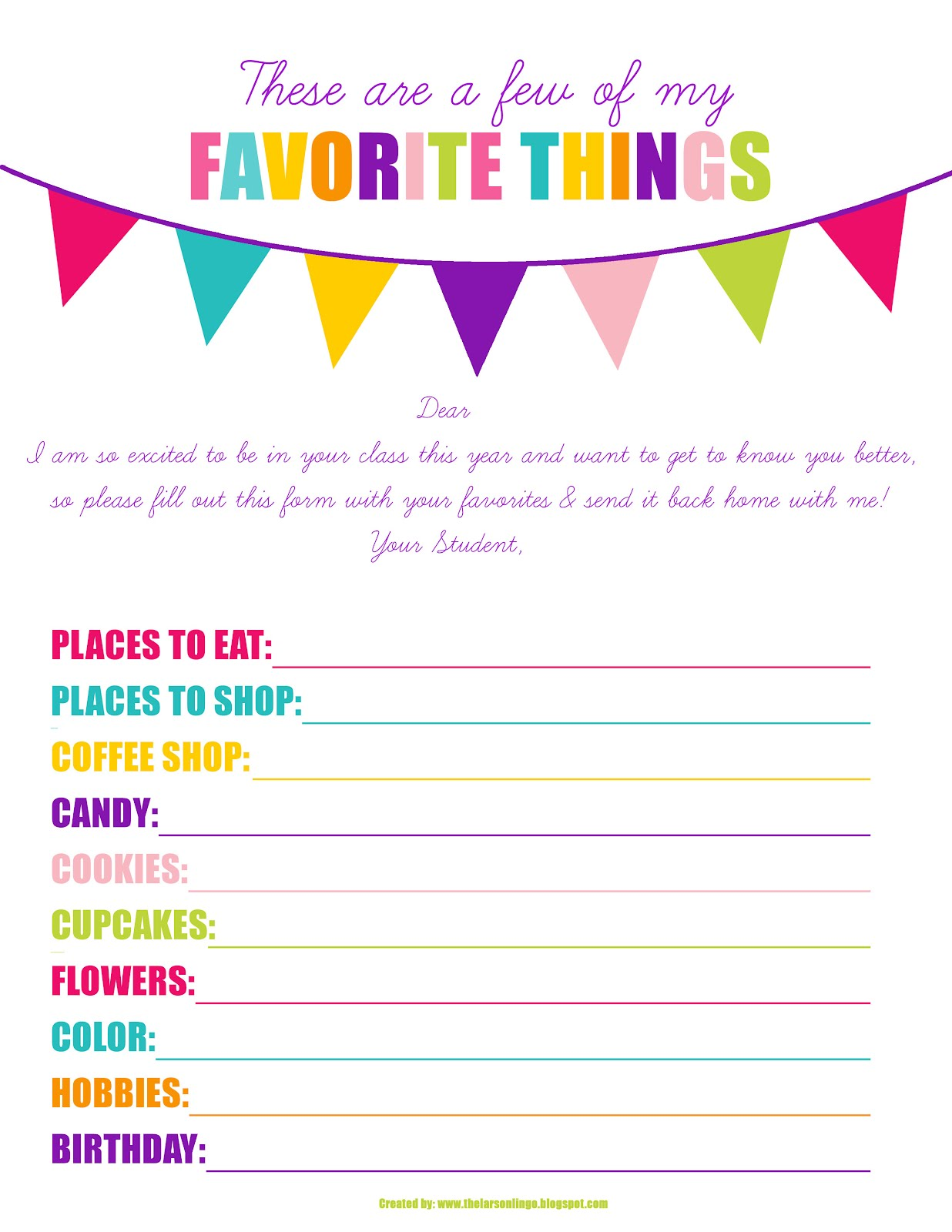 7 Images of Kindergarten Student Teachers From My Favorite Things Printable