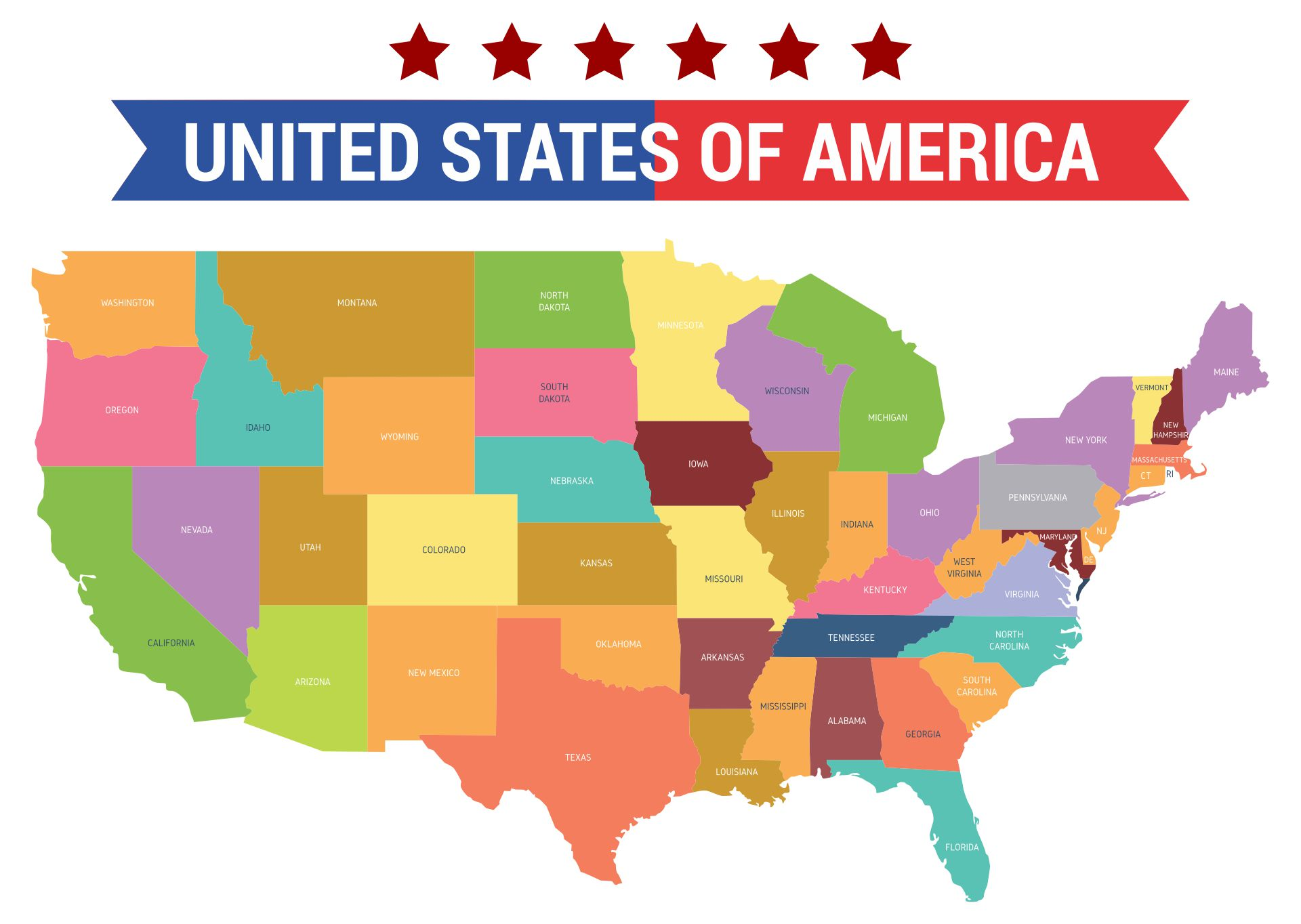 United States Map with Color