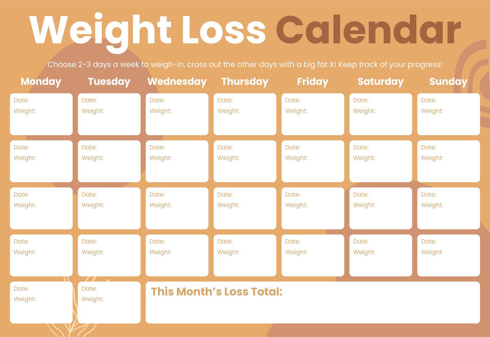 Weight Loss Calendar Printable
