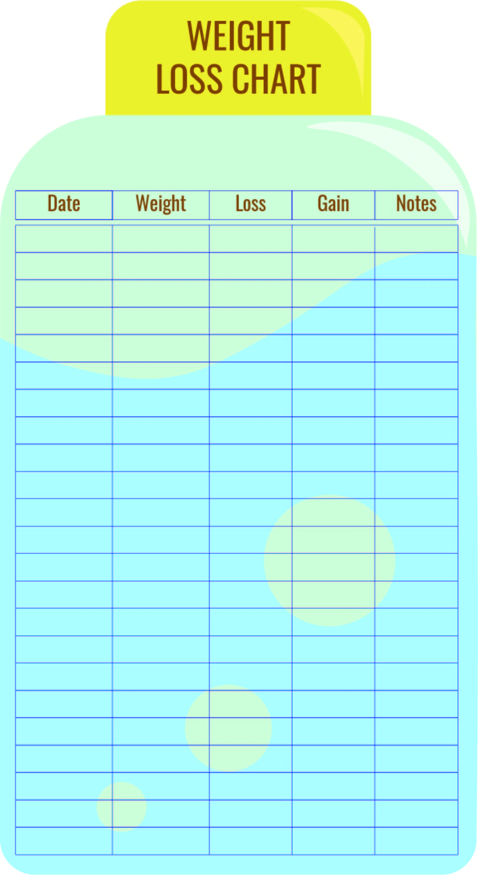 Weight Loss Chart Printable