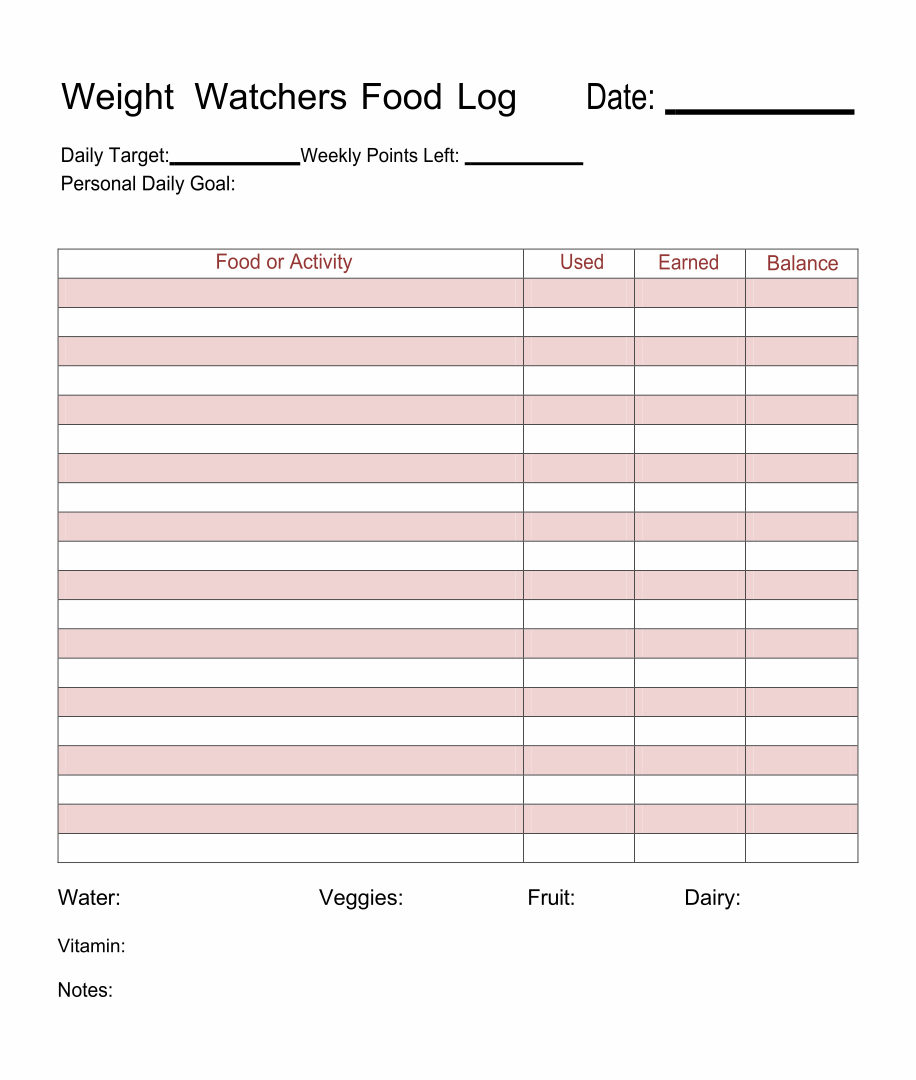 Weight Watchers Food Log Printable