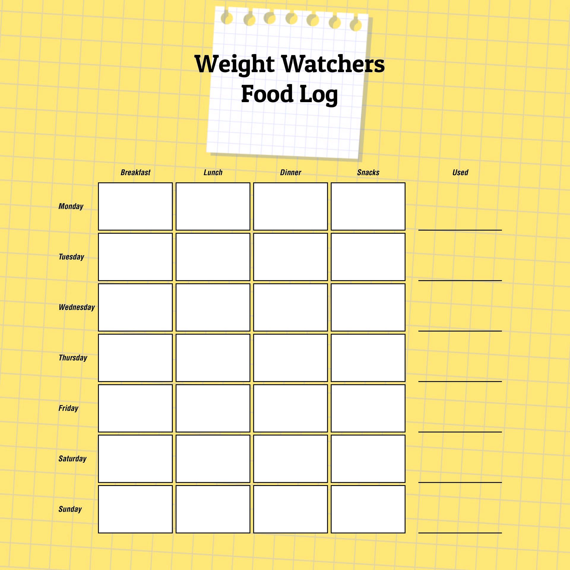 Weight Watchers Points Tracker Template