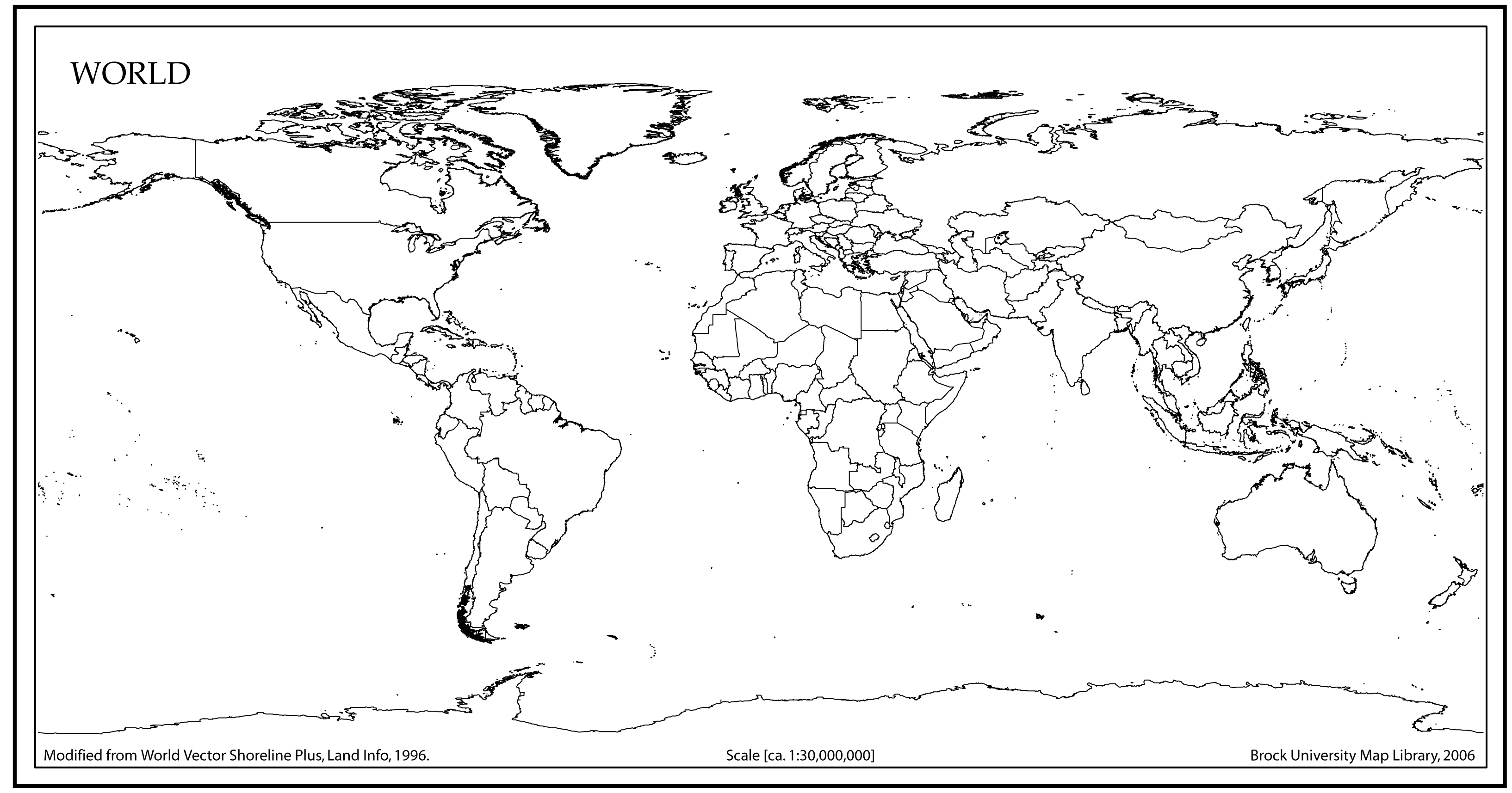 4 Images of World Map Outline Printable