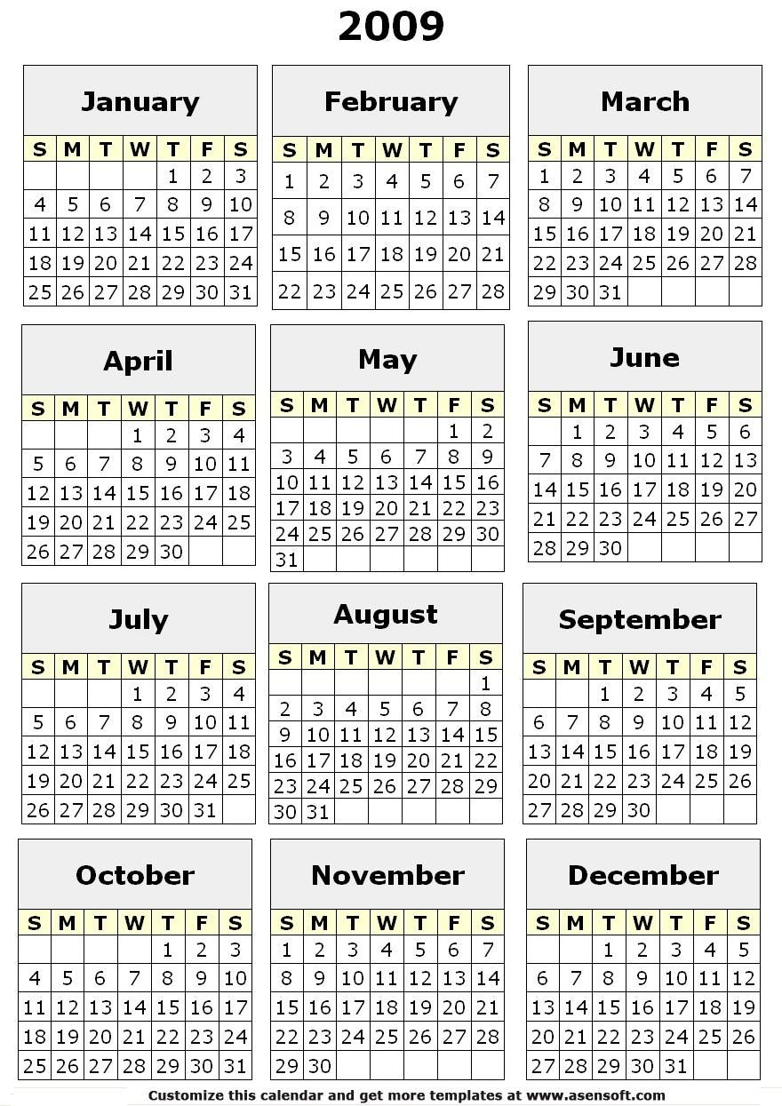 5 Images of Free Printable Year Calendar 2009