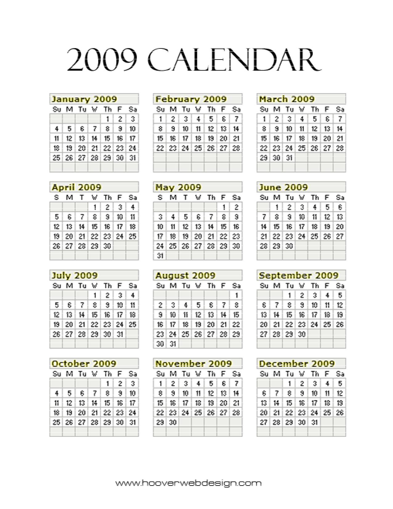 Best images of free printable year calendar 2009 2009 calendar