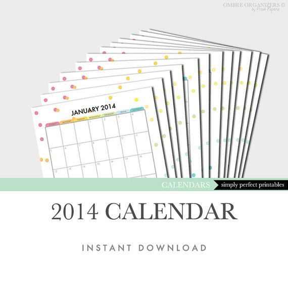 2014 Calendar Printable Insert