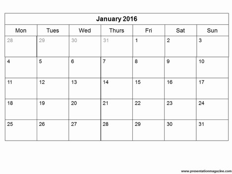 7 Images of Free Printable Monthly Calendar Template 2016