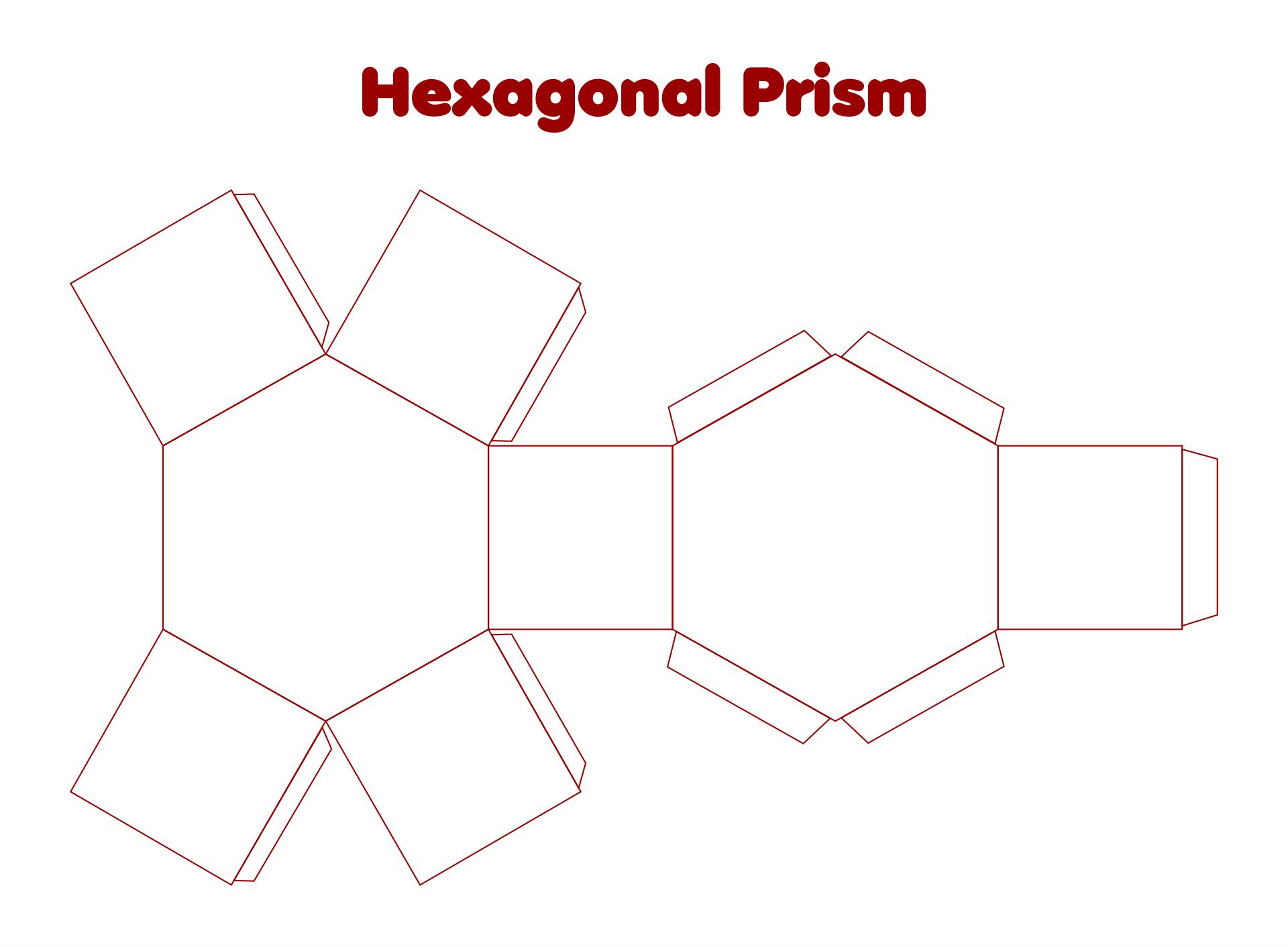 3D Hexagon Shape Printable Templates