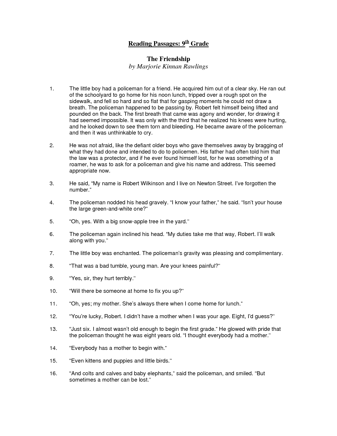 Printables Free Printable 7th Grade Reading Comprehension Worksheets 9 best images of printable 8th grade comprehension worksheets 9th reading worksheets