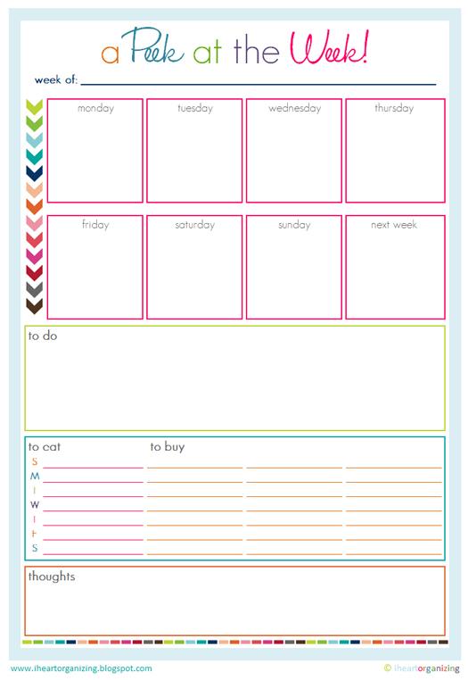 A Peek at the Week Free Printable Weekly Planner
