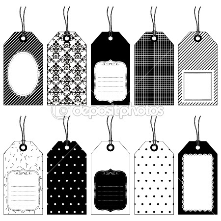 5 Images of Printable Christmas Tags Black And White Large