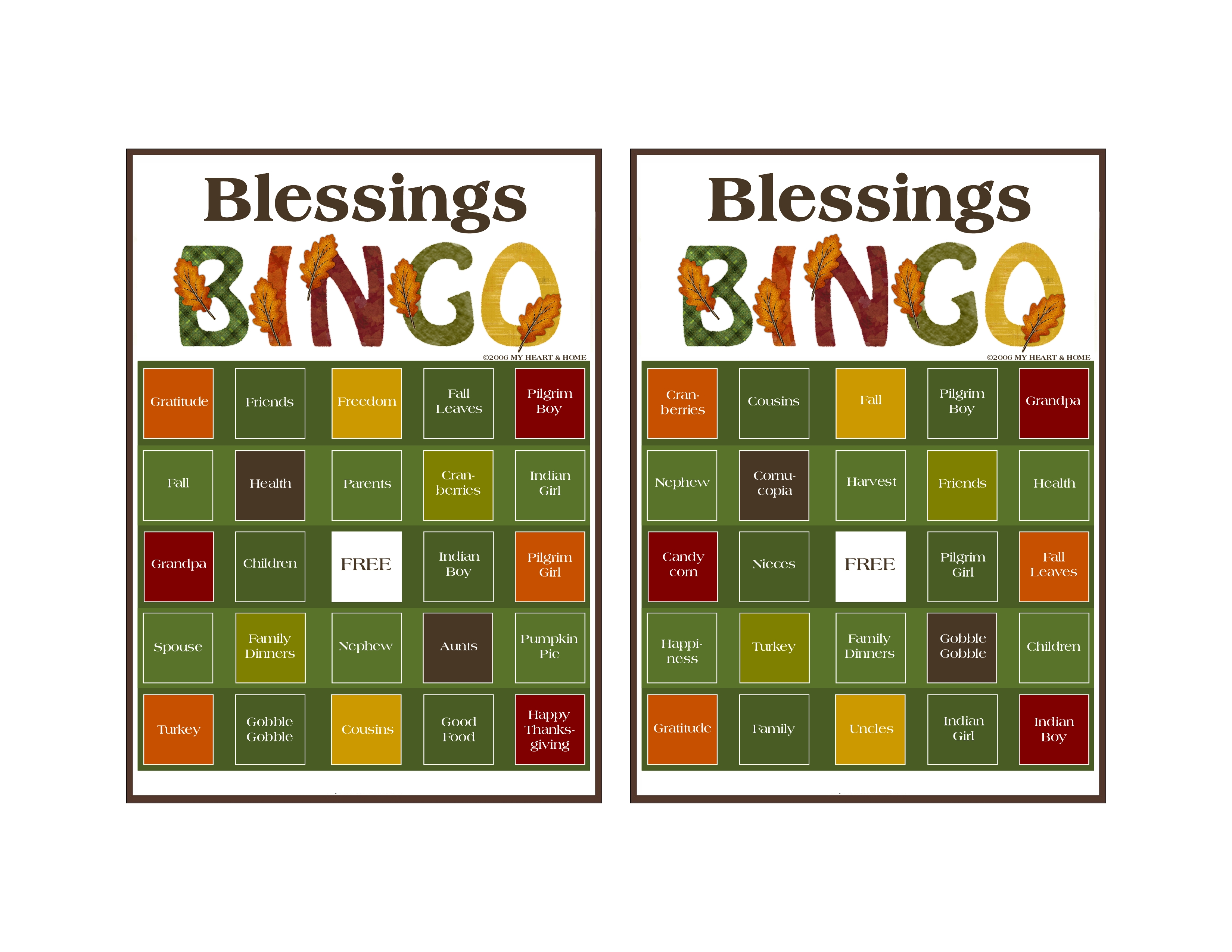 9 Images of Blessings Printable Bingo Template