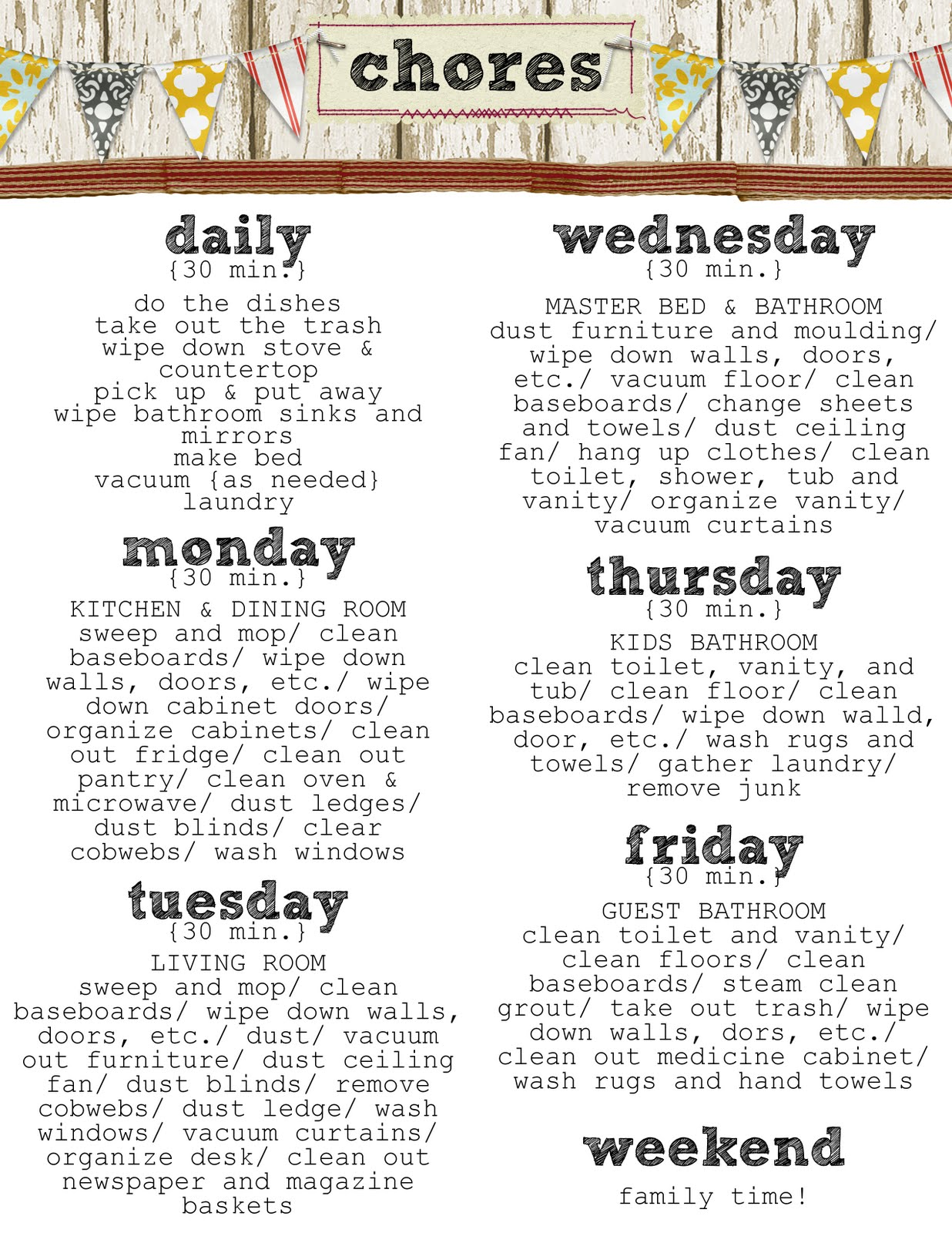 7 Images of Weekly Household Chore Checklist Printable