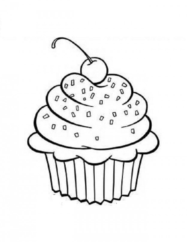 7 Images of Printable Coloring Clip Art Cupcakes