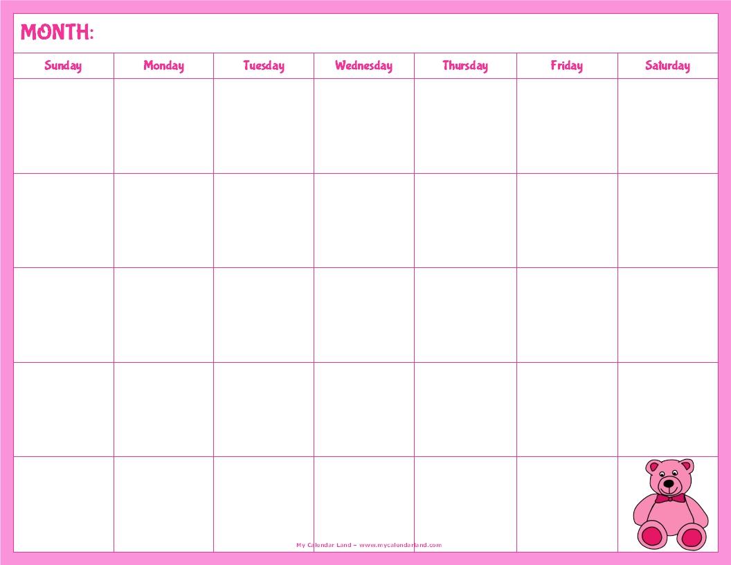 5 Images of Blank Calendar Printable Cute