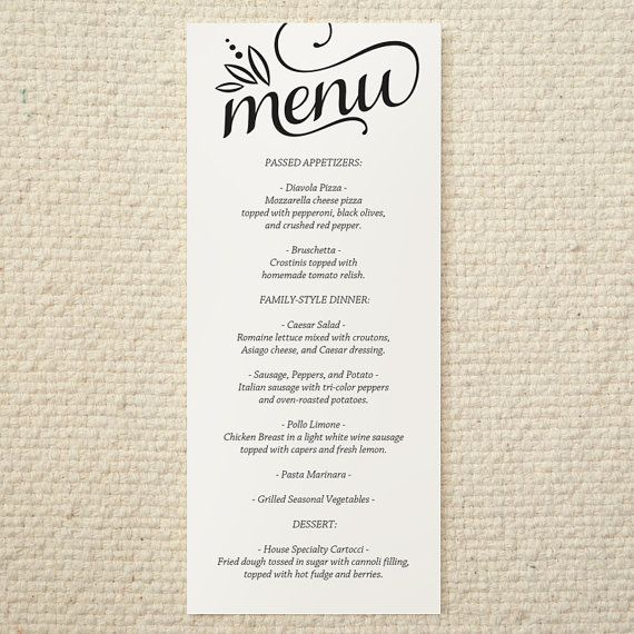 DIY Wedding Menu Templates