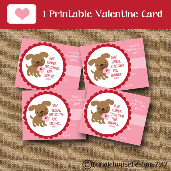 6 Images of Printable Puppy Valentine Cards School