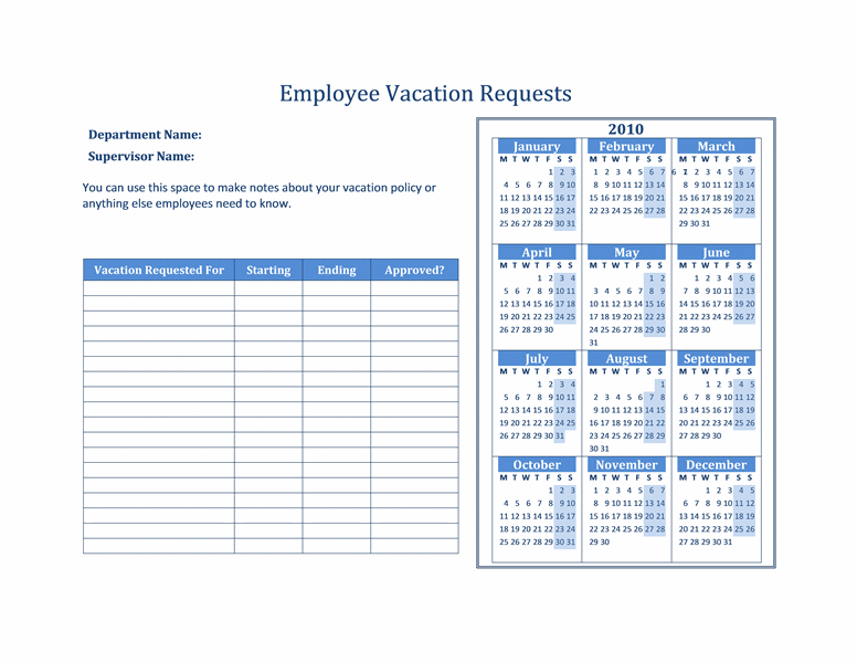 2016 Printable - Employee Vacation Calendar Template 2015, Vacation ...