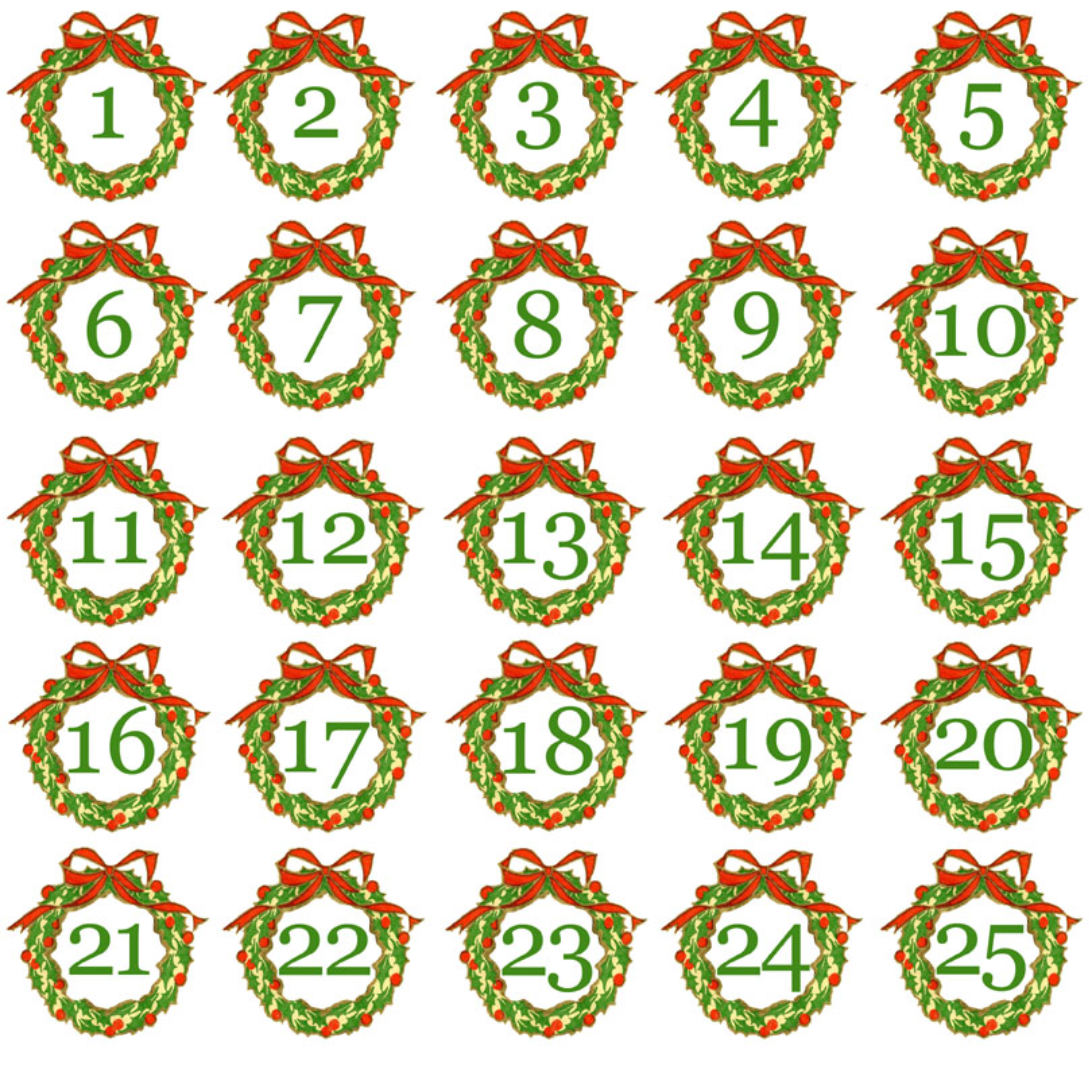 Images of Printable Advent Calendar Numbers - Free Printable Christmas ...