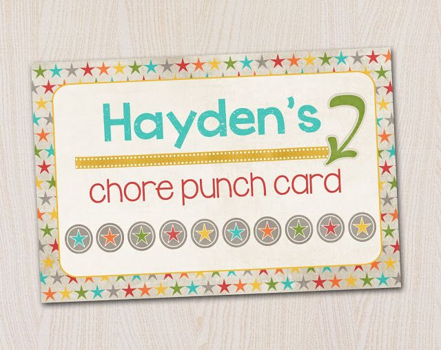 6 Images of Printable Chore Punch Cards