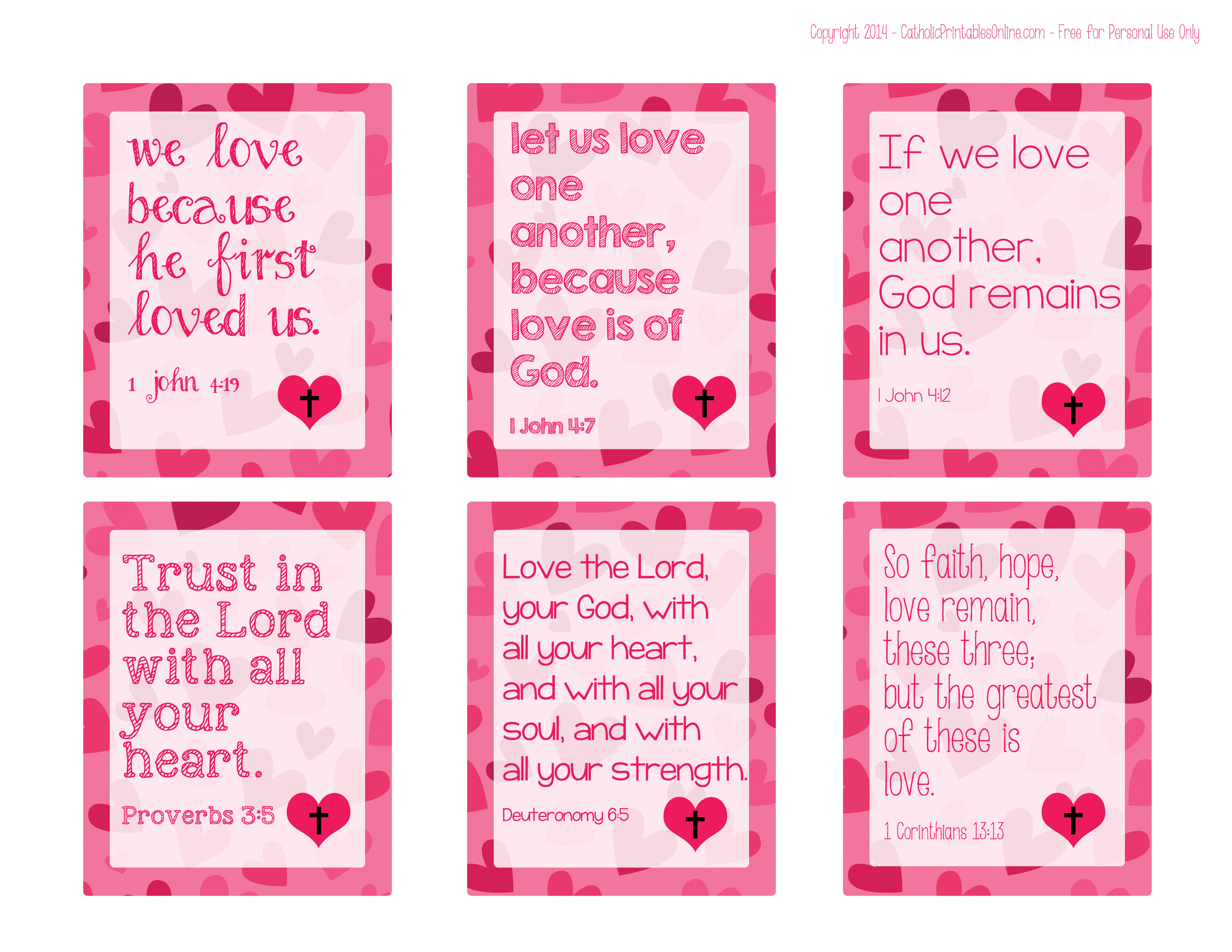 6 Images of Valentine's Free Printable Bible Verse