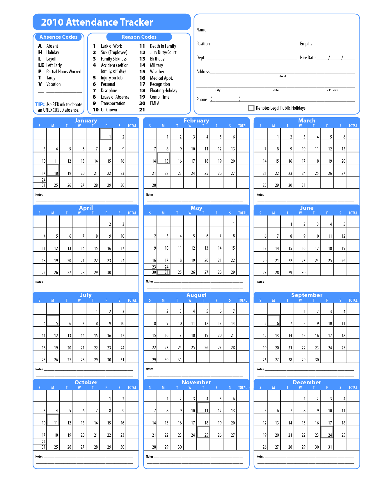 Vacation Tracker Calendar 2016 Printable - Employee Vacation Calendar ...
