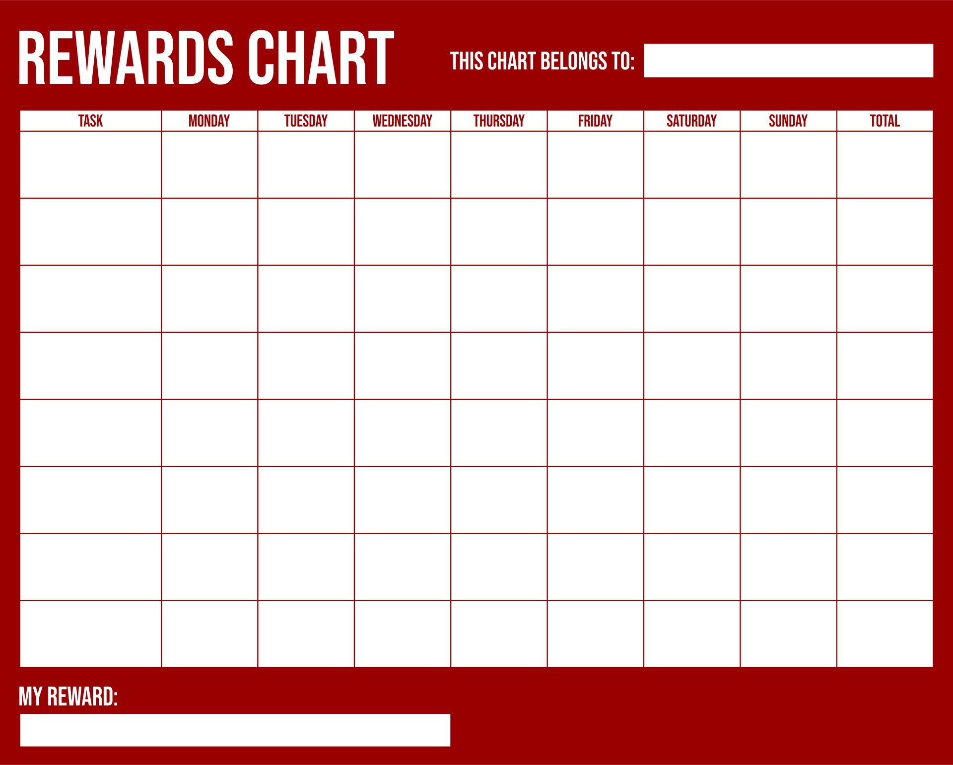 Printable Kids Reward Charts Templates