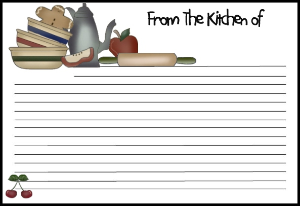 8 Images of Free Graphics Printable Recipe Card