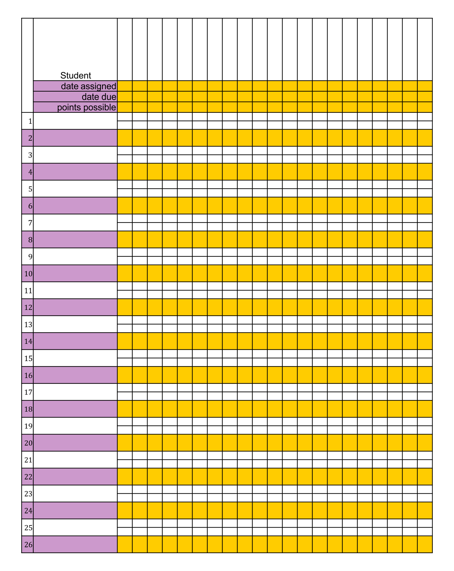 Printable Teacher Grade Book Sheets