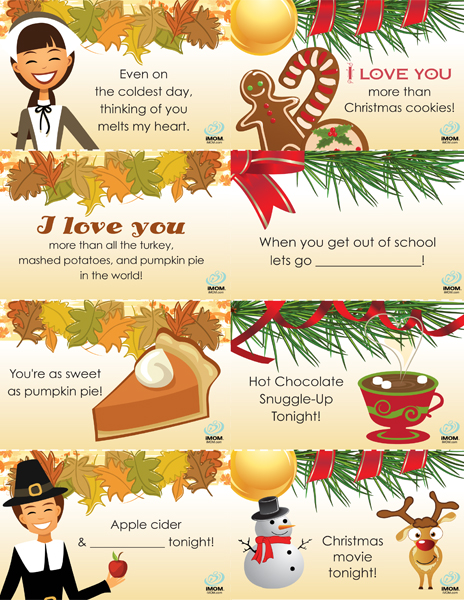 Free Printable Thanksgiving Lunch Box Notes