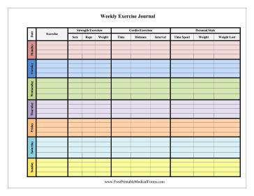 Free Printable Weekly Weight Loss Journal